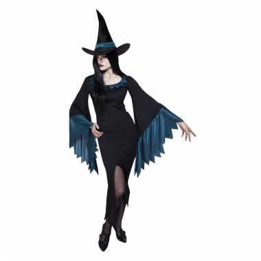 Dames heksenkleding jurkje zwart/blauw