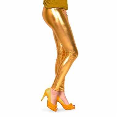 Dames lak legging goud
