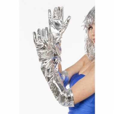 Dames lang handschoenen zilver