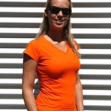 Dames shirts v-hals bodyfit oranje
