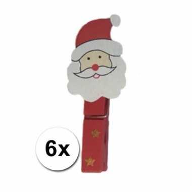 Deco kerst knijpers kerstman 6 stuks