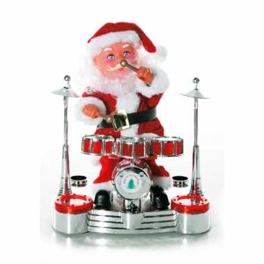 Deco kerstman op drumstel 19 cm
