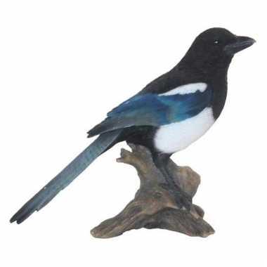 Decoratie beeld ekster vogel 22 cm