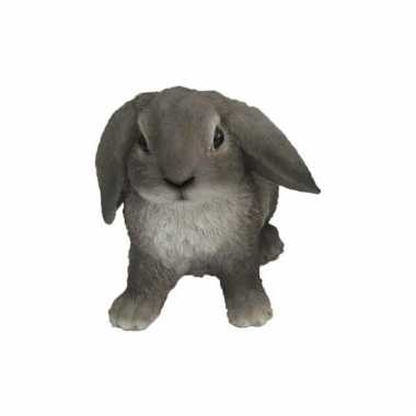 Decoratie beeld grijze hangoor konijn 15 cm