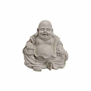 Decoratie happy boeddha beeld grijs 32 cm