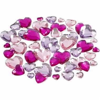 Decoratie harten plak diamantjes paars mix