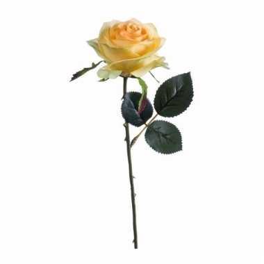 Decoratie kunstbloemen gele roos 45 cm