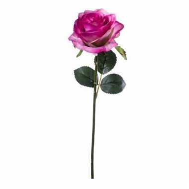 Decoratie kunstbloemen paars/roze roos 45 cm