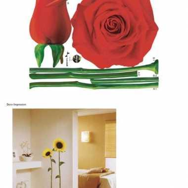 Decoratie muurstickers rozen 2 stuks