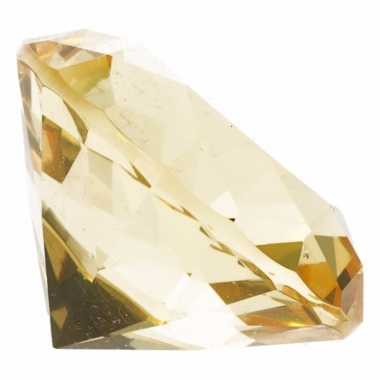 Decoratie namaak diamanten/edelstenen/kristallen geel 4 cm