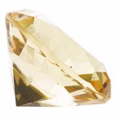 Decoratie namaak diamanten/edelstenen/kristallen geel 5 cm