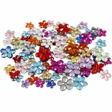 Decoratie plak diamantjes bloem