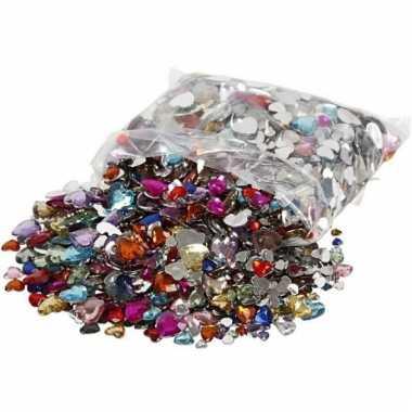 Decoratie plak diamantjes hart