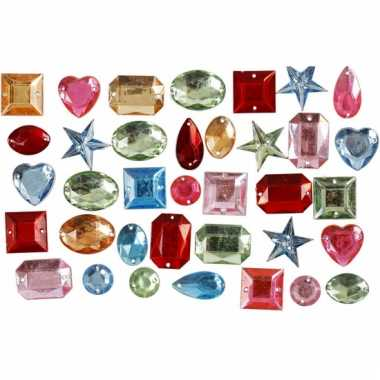 Decoratie plak diamantjes mix 15 gr