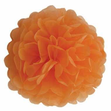 Decoratie pompom oranje 25 cm