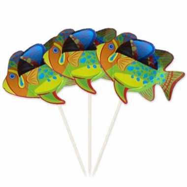 Decoratie prikker met vissen 15 cm