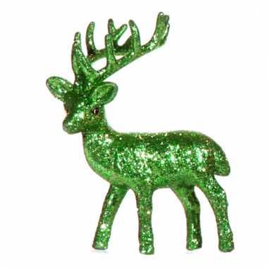 Decoratie rendier groen 10 cm
