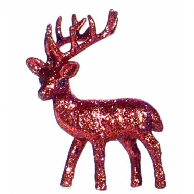 Decoratie rendier rood 10 cm
