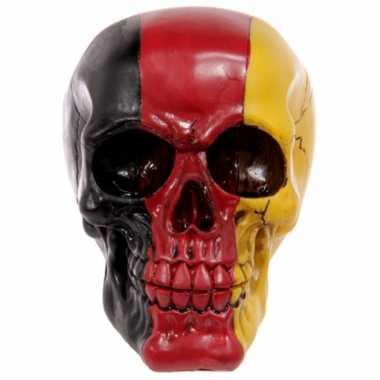 Decoratie schedel zwart/rood/geel