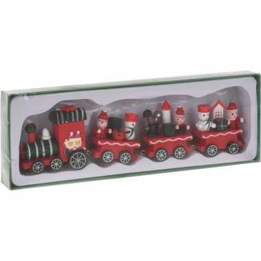 Decoratie trein hout groen/rood 25 cm type i