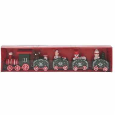 Decoratie trein hout rood/groen 24 cm