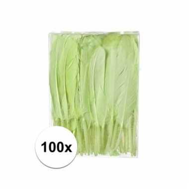 Decoratie veren groen 100 stuks13 cm