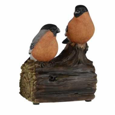 Decoratie vogel tuinbeeldje goudvinken met geluid 11 cm