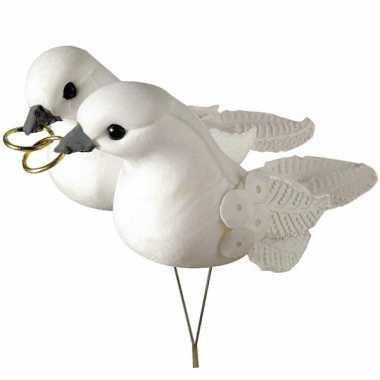 Decoratie witte duiven met ringen