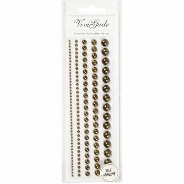 Decoratieve bruine parel stickers 140 stuks