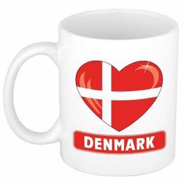 Deense vlag hart mok / beker 300 ml