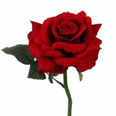 Deluxe roos rood 31 cm kunstbloemen