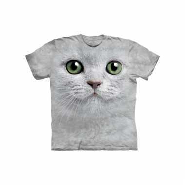 Dieren shirts witte kat volwassenen