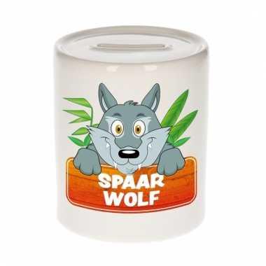 Dieren spaarpot wolf 9 cm