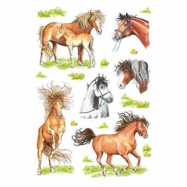 Dieren stickers paarden getekend 3 stuks