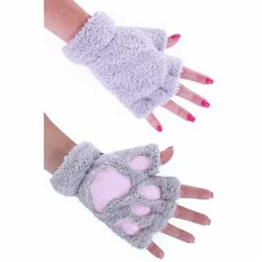 Dierenpoot verkleed handschoenen grijs