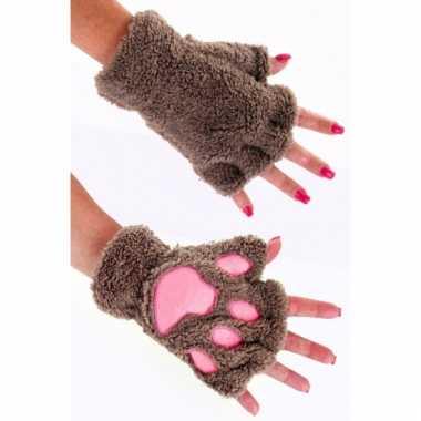 Dierenpoot verkleed handschoenen lichtbruin