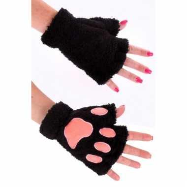 Dierenpoot verkleed handschoenen zwart