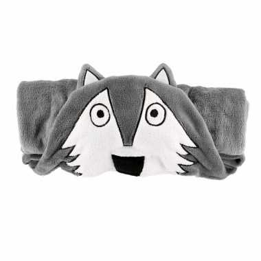 Dierenthema fleece omslagdoek wolf