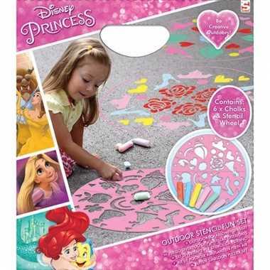 Disney princess gekleurde krijtjes met sjabloon