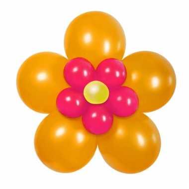 Doe het zelf ballon kit bloem oranje/roze