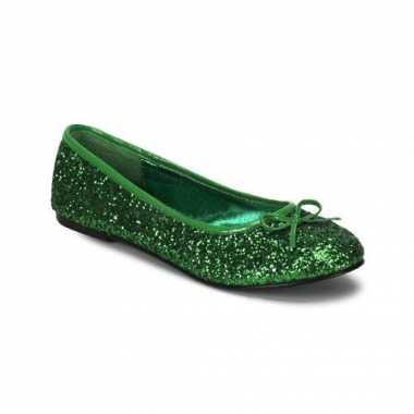 Donker groene ballerina schoenen met glitters