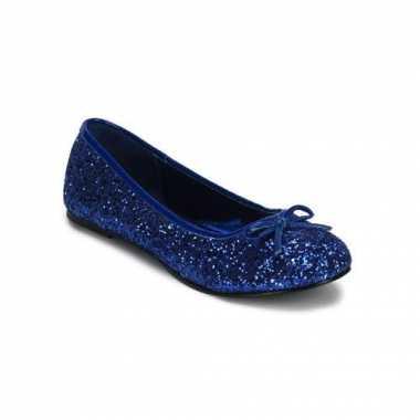 Donkerblauwe ballerina schoenen met glitters