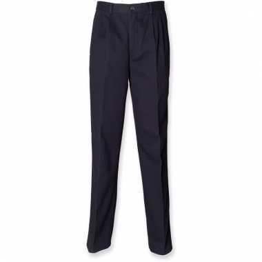 Donkerblauwe heren broek van katoen