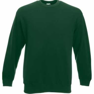 Donkergroene fruit of the loom sweater ronde hals