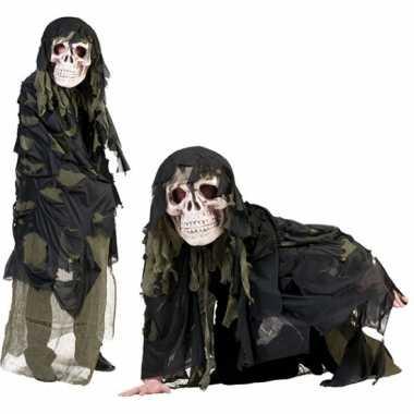 Doodshoofd masker met groene cape
