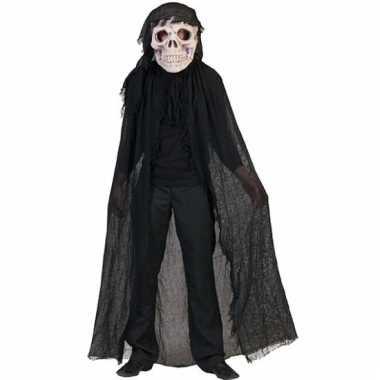Doodshoofd masker met zwarte voddencape