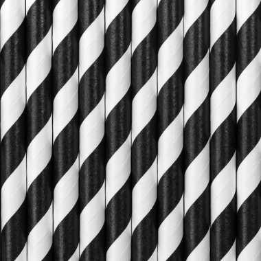 Drinkrietjes zwart/wit gestreept
