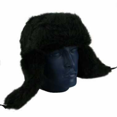 Echte russische bontmuts zwart