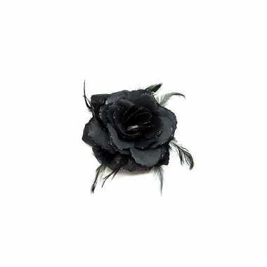 Elastiek met zwarte roos glitters en veren