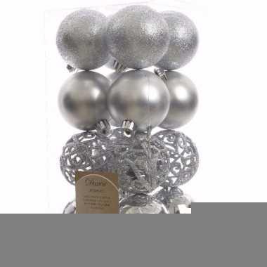 Elegant christmas zilveren kerstversiering kerstballen pakket 16 stuk